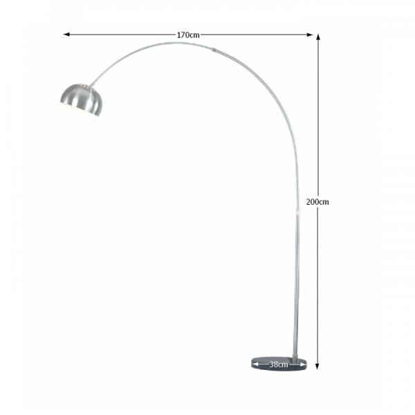 Oblúková lampa, oceľ/čierny mramor, CINDA Typ 16 F1034-M