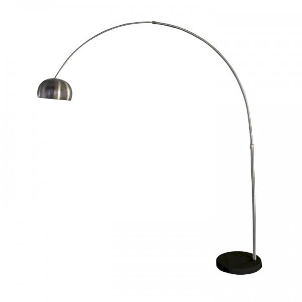 Oblúková lampa, nehrdzavejúca oceľ/čierny mramor, CINDA Typ 17 F1034-L