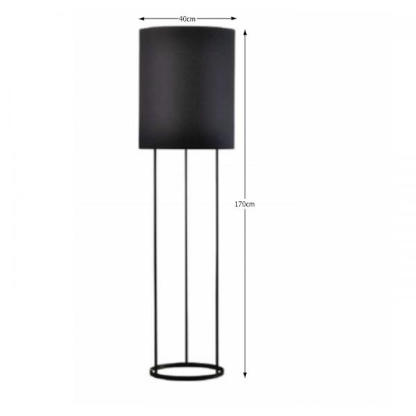 Stojacia lampa, kov/látka, čierna, CINDA TYP 22 F7008