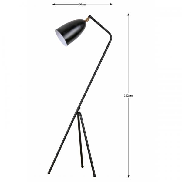 Stojacia lampa, čierny kov, CINDA Typ 23 YF6250-B