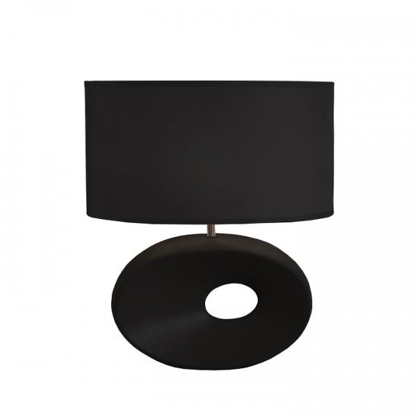 Keramická stolná lampa, čierna, QENNY TYP 10 AT09115