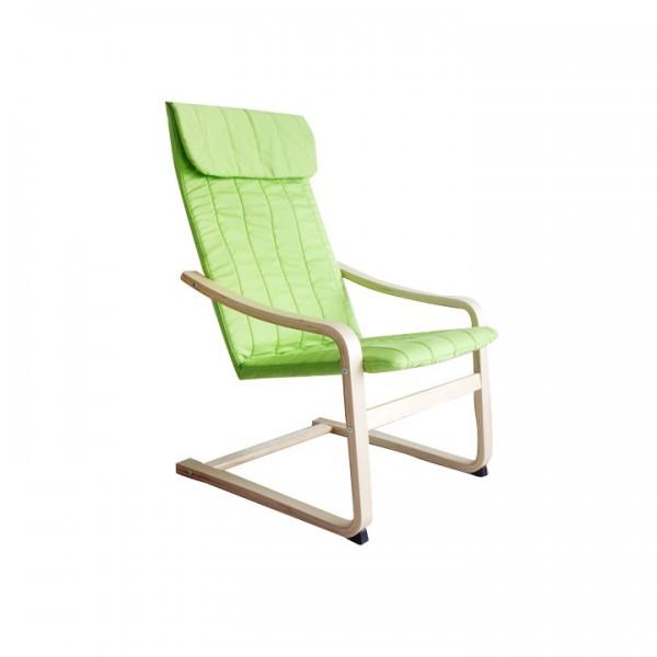 TEMPO KONDELA Relaxačné kreslo, brezové drevo/zelená látka, TORSTEN