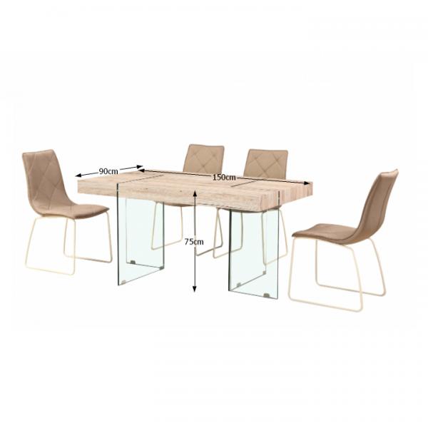Jedálenský stôl, MDF/ tvrdené sklo, PASKAL