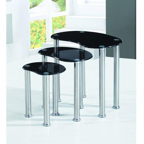 Sada 3 príručných stolíkov, čierne tvrdené sklo/nehrdzavejúca oceľ, NORMAN