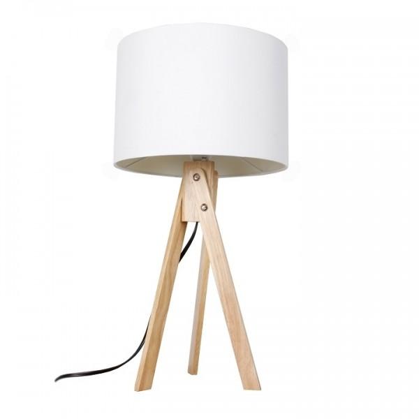 Stolná lampa, biela/prírodné drevo, LILA Typ 1 LS2002