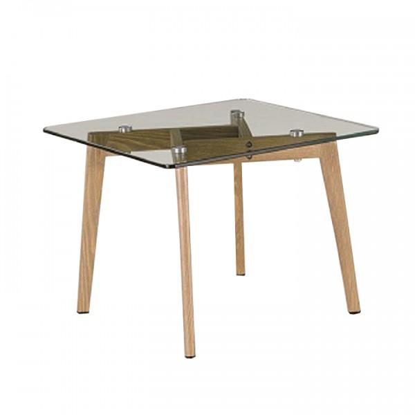 Konferenčný stolík, sklo/kov s úpravou buk, PEDREK Typ 1