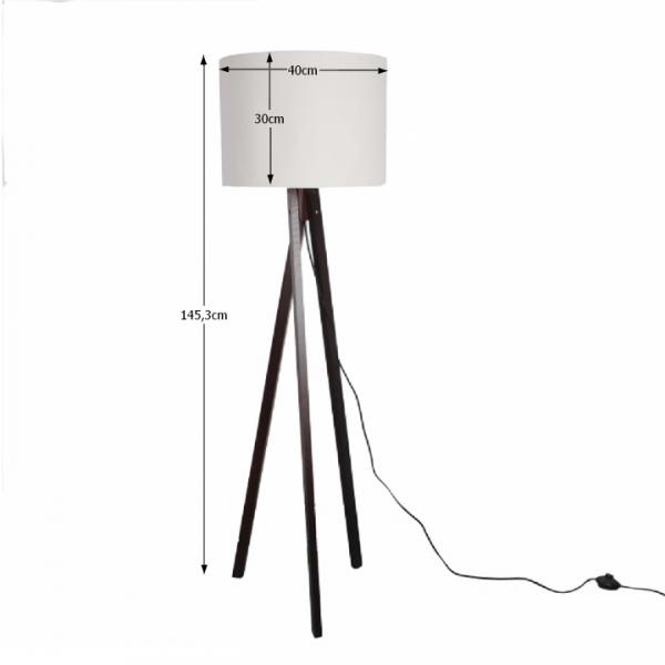 Stojacia lampa, biela/drevo čierne, LILA Typ 9 LS6062