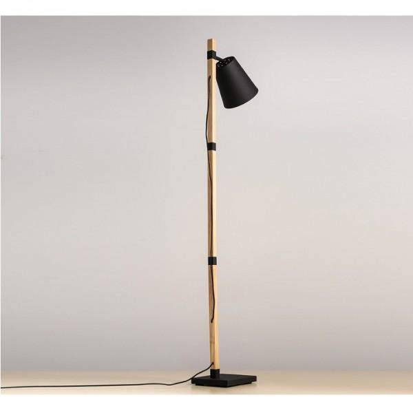 Stojacia lampa, čierna/prírodná, CINDA Typ 4 YF6048
