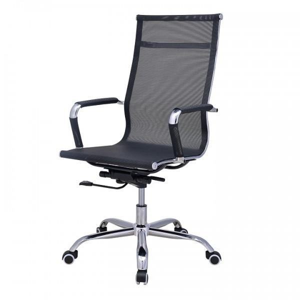 Kancelárske kreslo, sieťovina čierna/chróm, CADIF NEW
