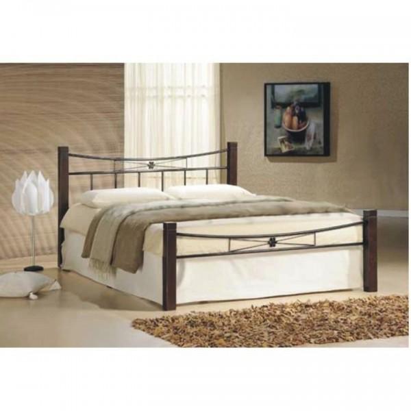 TEMPO KONDELA Kovová posteľ, drevo orech/čierny kov, 160x200, Paula