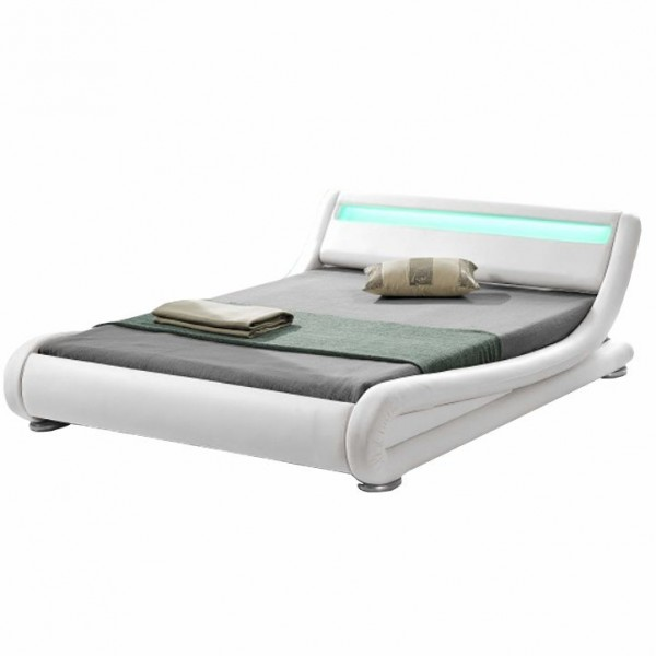 Moderná posteľ s RGB LED osvetlením, biela, 160x200, FILIDA