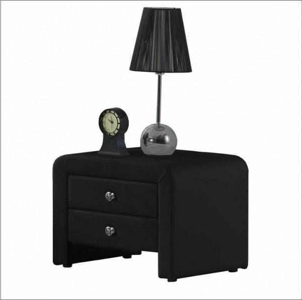 TEMPO KONDELA Nočný stolík, ekokoža, čierna, WILSON