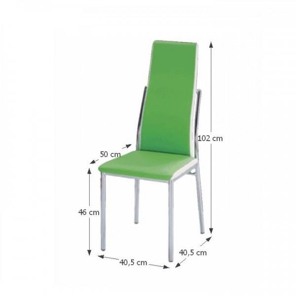 TEMPO KONDELA Jedálenská stolička, ekokoža zelená, biela/chróm, ZORA