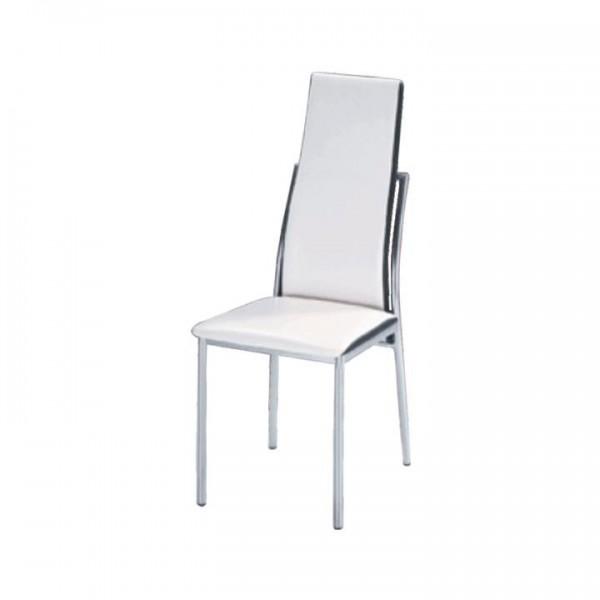 TEMPO KONDELA Jedálenská stolička, ekokoža biela, čierna/chróm, ZORA