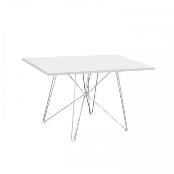 Jedálenský stôl, MDF/biela/HG lesk, ARTEM