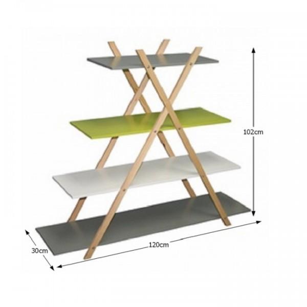 Regál, viacfarebný/bambus, JENSEN BBP-43