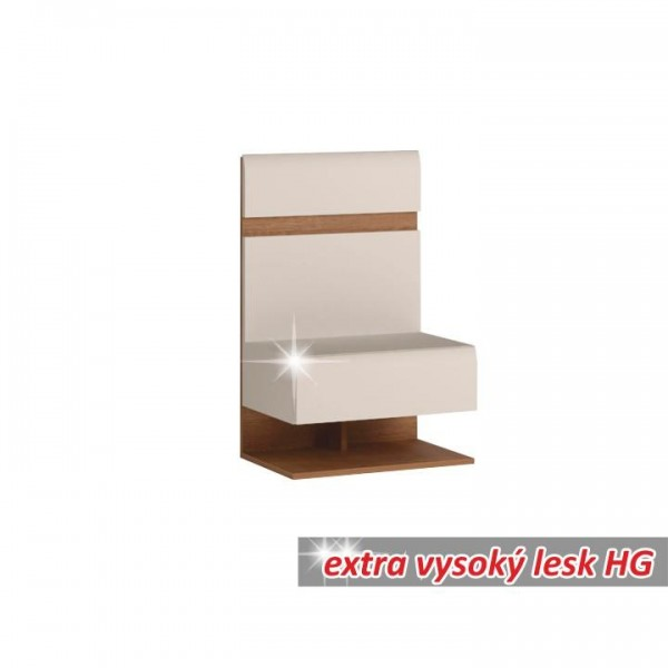 Nočný stolík, biela extra vysoký lesk HG/dub sonoma tmavý truflový, LYNATET TYP 95