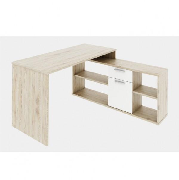 PC stôl, dub san remo/biela, NOE NEW