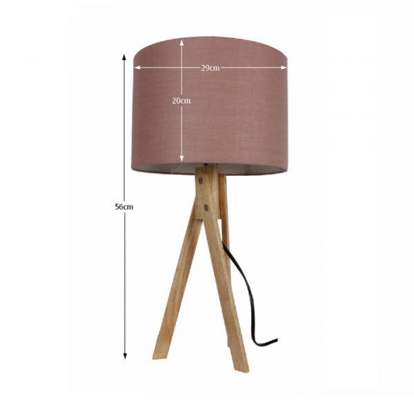 Stolná lampa, taupe hnedá/prírodné drevo, LILA Typ 3 LS2002