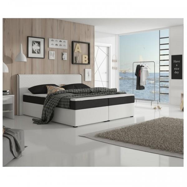 Komfortná posteľ, čierna látka/biela ekokoža, 160x200, NOVARA MEGAKOMFORT