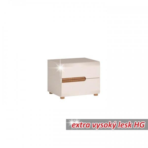 TEMPO KONDELA Nočný stolík, biela extra vysoký lesk HG/dub sonoma tmavý truflový, LYNATET TYP 96