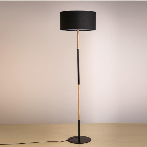 Stojacia lampa, čierny hliník/vzor dreva, CINDA Typ 21 YF6046