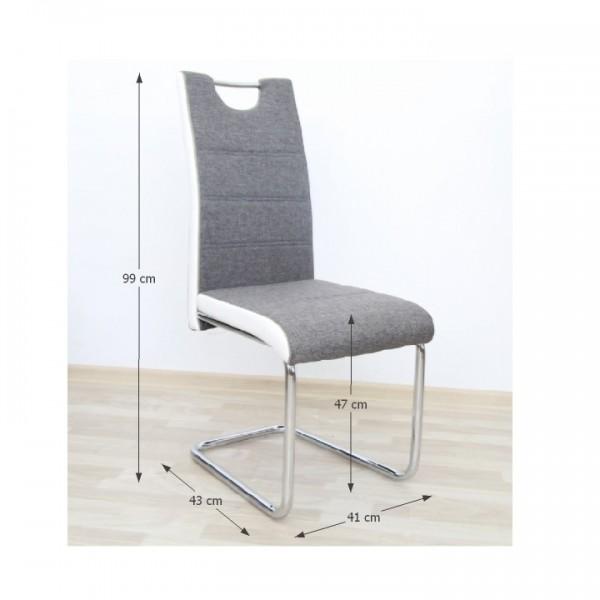 Stolička, látka sivá/ekokoža biela/chróm, IZMA