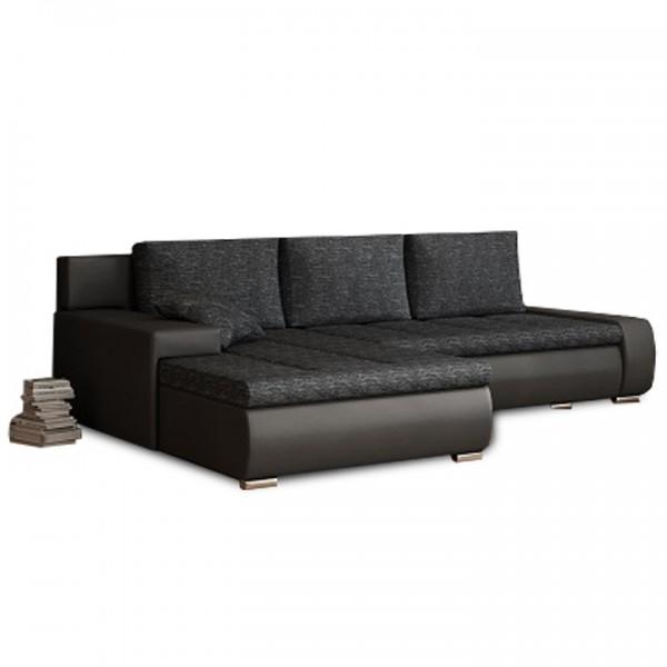 Rohová sedacia súprava, čierna/čierny melír, TRAMP