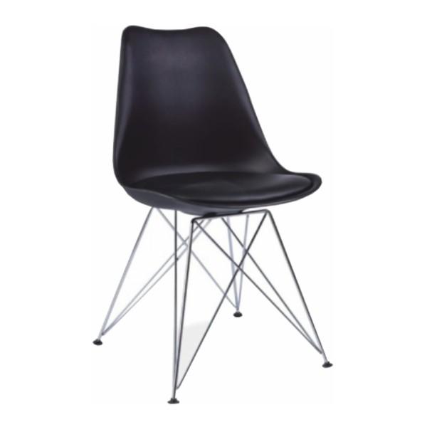 Stolička, čierna/chróm, METAL NEW