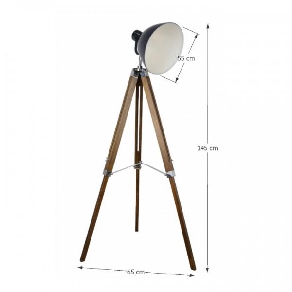 Stojacia lampa, čierny kov/drevo, CINDA Typ 27 YFY804-A