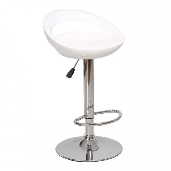 TEMPO KONDELA Barová stolička, biela/chróm, DONGO NOVE