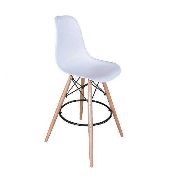 TEMPO KONDELA Barová stolička, biela/buk, CARBRY