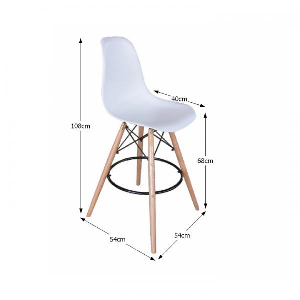 Barová stolička, biela/buk, CARBRY