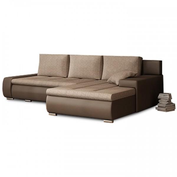 TEMPO KONDELA Rohová sedacia súprava, hnedá/hnedosivý melír, TRAMP