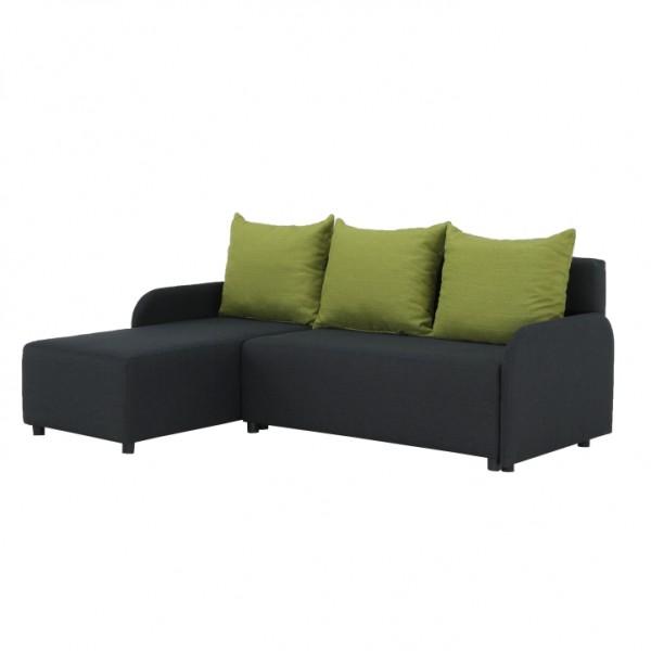 TEMPO KONDELA Rohová sedačka, tmavosivá/zelená, ľavá, BODRUM