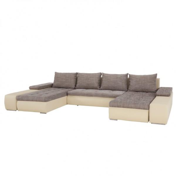 TEMPO KONDELA Univerzálna sedacia súprava, tvar U, béžová/hnedý melír, MALIBU U