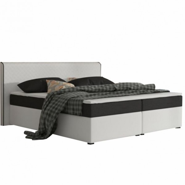 Komfortná posteľ, čierna látka/biela ekokoža, 180x200, NOVARA MEGAKOMFORT VISCO