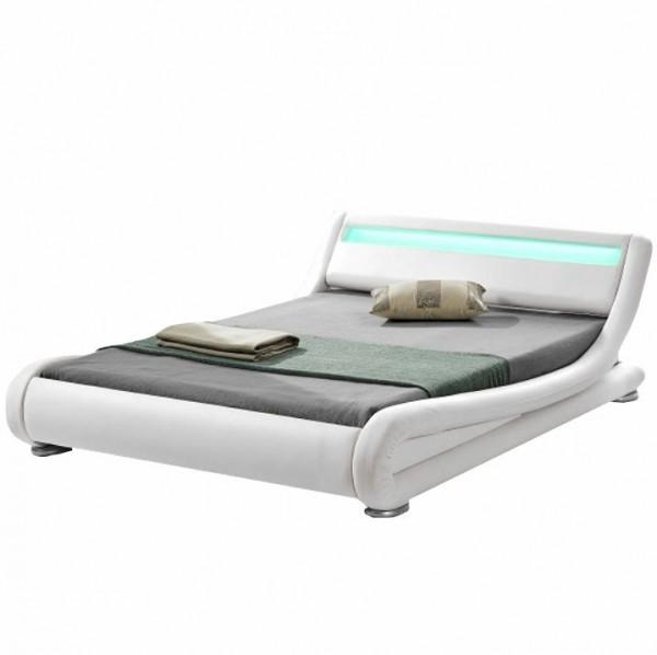 TEMPO KONDELA Moderná posteľ s RGB LED osvetlením, biela, 180x200, FILIDA