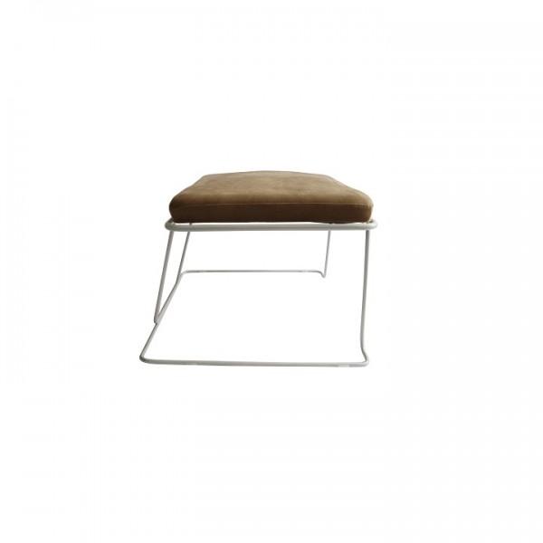 Dizajnový taburet, hnedá látka/biely rám, MERANO YF-S02
