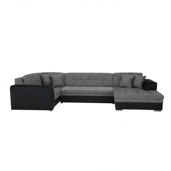 TEMPO KONDELA Rozkladacia sedacia súprava, čierna/sivý melír, pravá, DEGAN