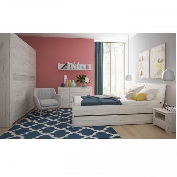 Spálňový komplet, (skriňa, posteľ 160x200, 2x nočný stolík), biela craft, ANGEL