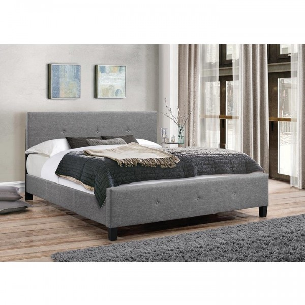 Manželská posteľ, sivá látka, 160x200, ATALAYA