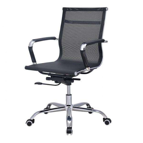 Kancelárske kreslo, sieťovina čierna/chróm, MELIS NEW