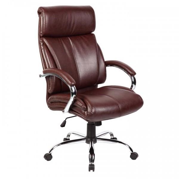Kancelárske kreslo, hnedá/chróm, CABELA  NEW