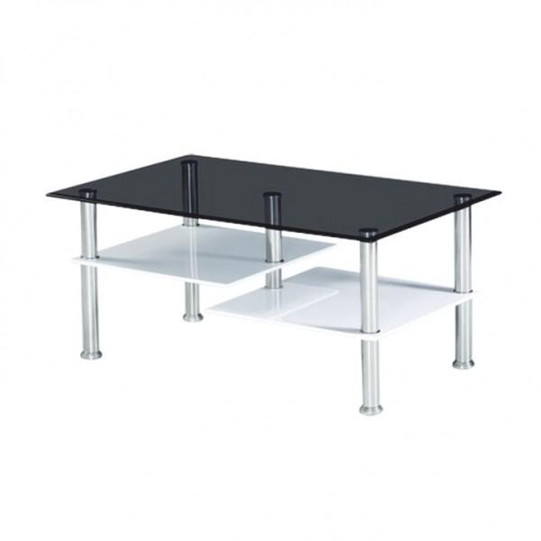 TEMPO KONDELA Konferenčný stolík, biela extra vysoký lesk HG/ sklo, SVEN
