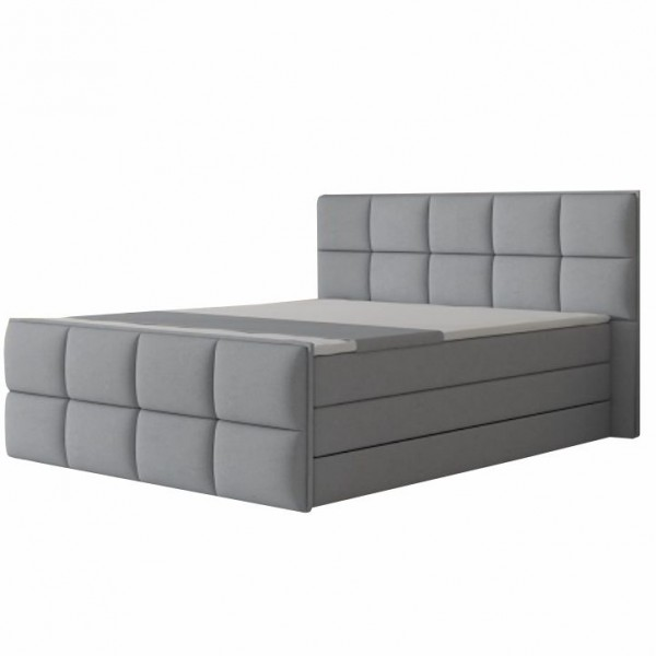 TEMPO KONDELA Komfortná posteľ, sivá látka, 160x200, RAVENA MEGAKOMFORT