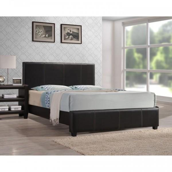 Manželská posteľ, tmavohnedá ekokoža, 160x200, ATALAYA