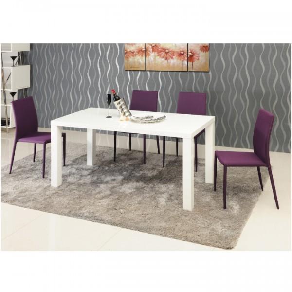 Jedálenský stôl, biela vysoký lesk HG, ASPER TYP 4