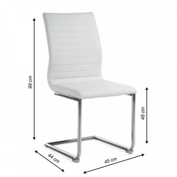 Stolička, ekokoža biela/chróm, OTILA
