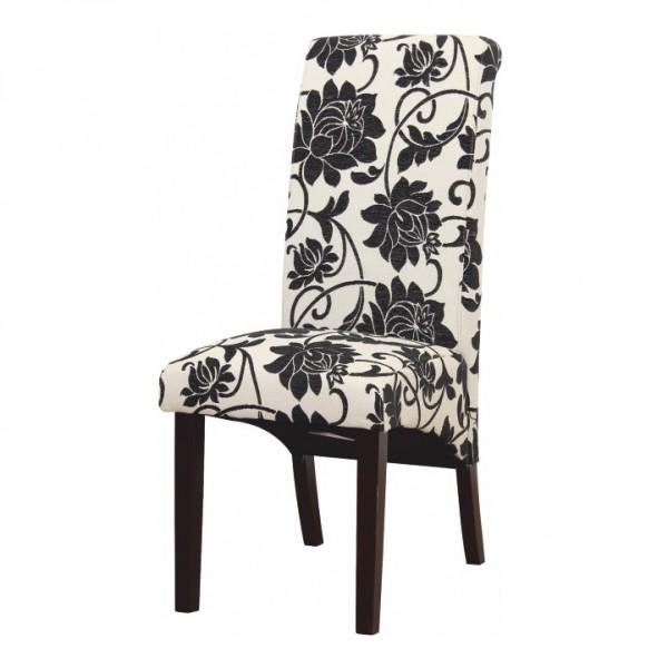 Jedálenská stolička, biela s čiernymi kvetmi/tmavý orech, JUDY 2 NEW
